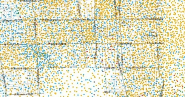 "Screen shot of a race and ethnicity map of the Compton area from the New York Times' ""Mapping America: Every City, Every Block"" interactive project. Blue dots represent African Americans, yellow dots represent Latinos, red dots represent Asians and green dots represent whites. Each dot represents 25 people."