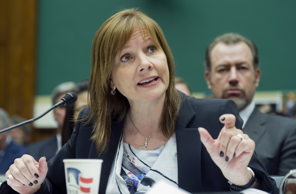 General Motors CEO Mary Barra testifies on Capitol Hill in Washington, Wednesday, June 18, 2014, before the House Oversight and Investigations subcommittee hearing examining the facts and circumstances that contributed to General Motors' failure to identify a safety defect in certain ignition switches and initiate a recall in a timely manner. (AP Photo/Cliff Owen)