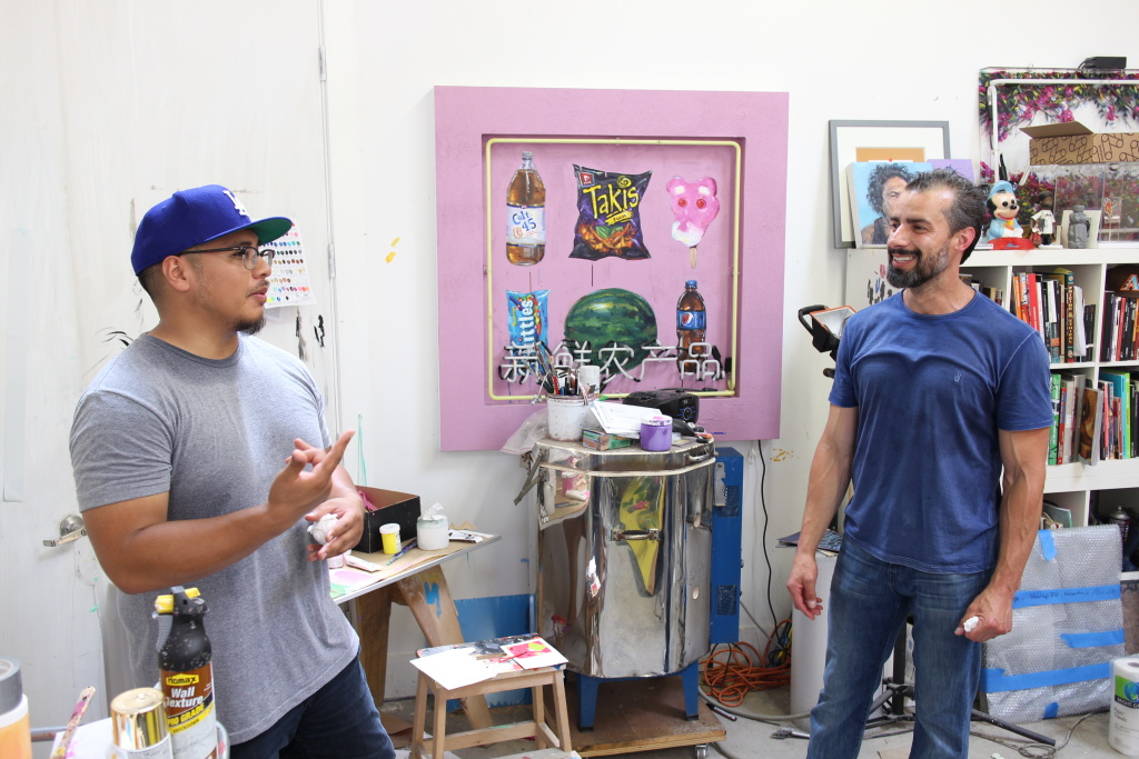 Artist Patrick Martinez and Take Two's A Martinez at Patrick's art studio.