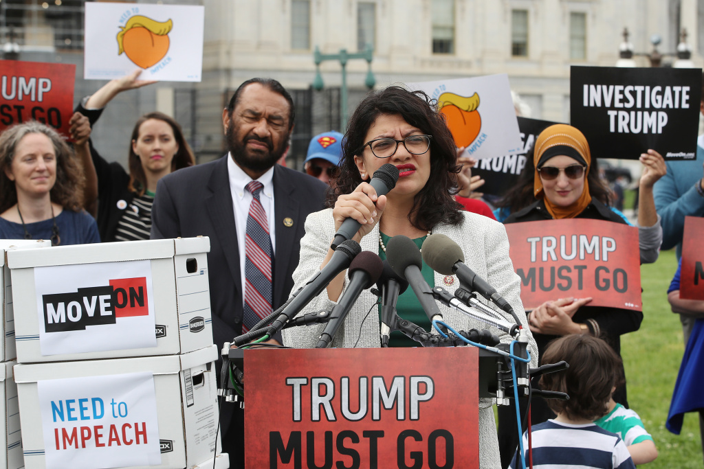 Rep. Rashida Tlaib, D-Mich. speaks during an event with activist groups to deliver over ten million petition signatures to Congress urging the House of Representatives to start impeachment proceedings against President Donald Trump on Capitol Hill May 9, 2019 in Washington, DC.