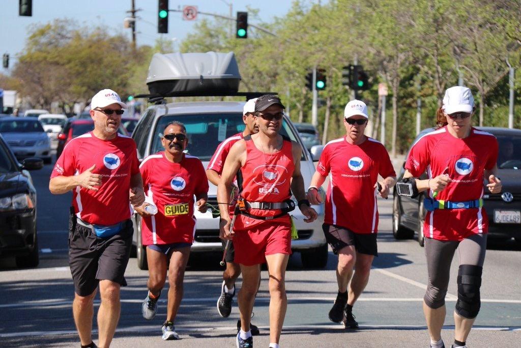 Legally blind runner, Jason Romero, running for US Association of Blind Athletes from LA to Boston.