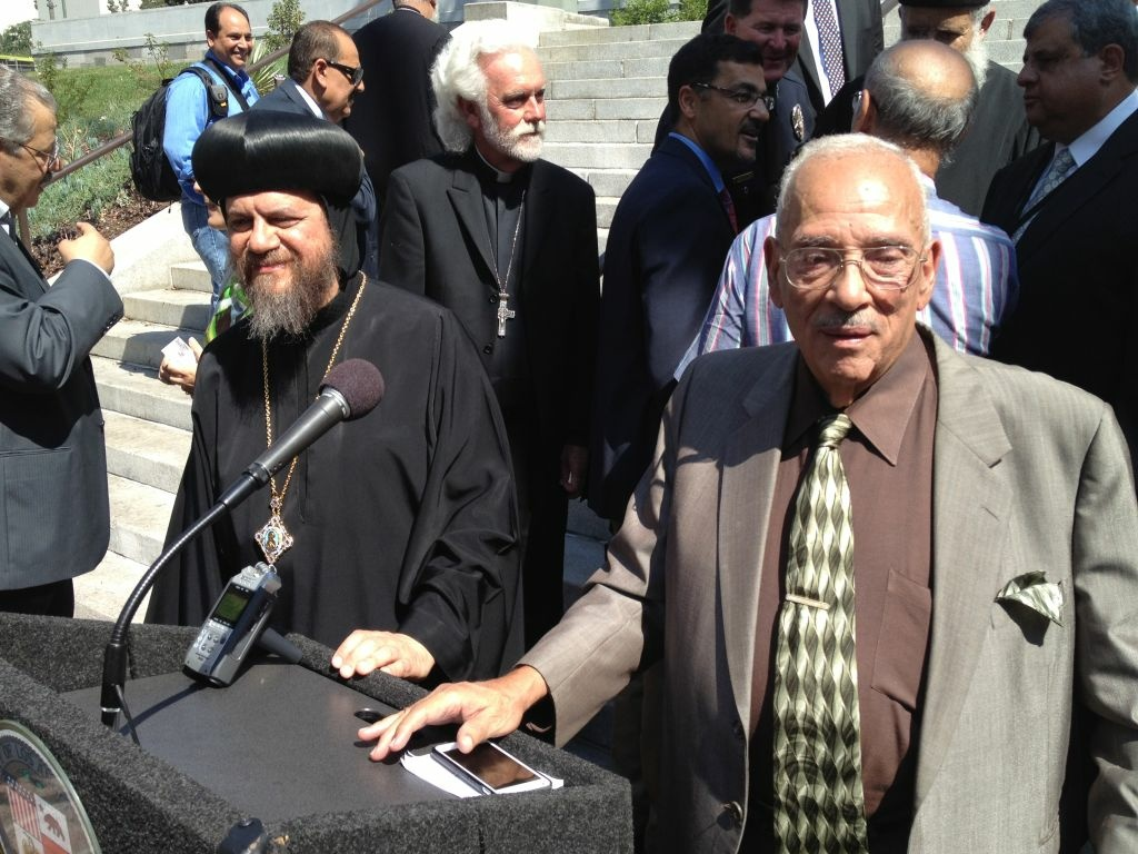His Grace Bishop Serapion, Bishop of the Diocese of Los Angeles, left and Muslim Public Affairs Council Senior Adviser Maher Hathout at Los Angeles City Hall