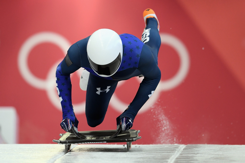 PYEONGCHANG-GUN, SOUTH KOREA - FEBRUARY 07:  Matthew Antoine of the United States practices during Men's Skeleton training ahead of the PyeongChang 2018 Winter Olympic Games at the Olympic Sliding Centre on February 7, 2018 in Pyeongchang-gun, South Korea.  (Photo by Matthias Hangst/Getty Images)