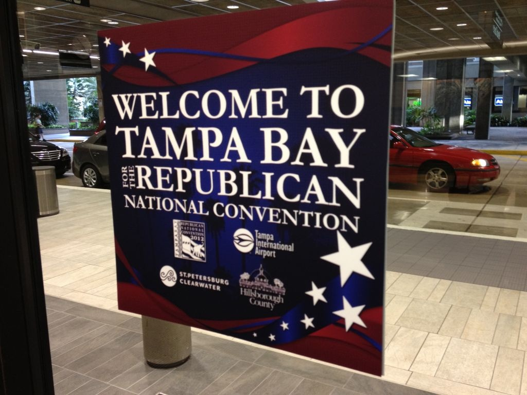 Despite the threat of Tropical Storm Isaac, visitors poured in to Tampa Saturday for the Republican National Convention.