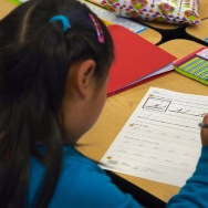 Lifestyle-education-US-writing A pupil practices cursive writing at Triadelphia Ridge Elementary School in Ellicott City, Maryland.