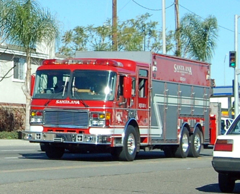 A Santa Ana Fire Department truck.