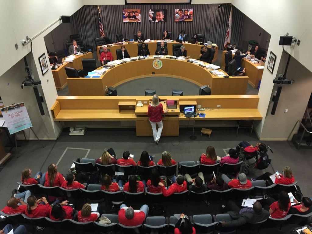 FILE - Los Angeles Unified School Board members hear public comment during a recent meeting.