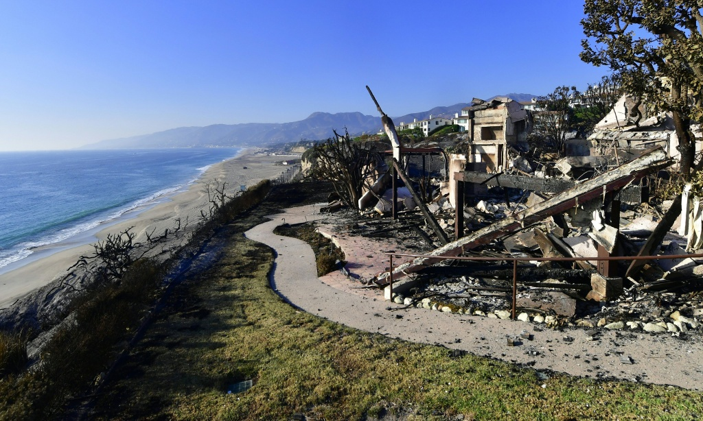 The remains of a beach side luxury home that was destroyed by the