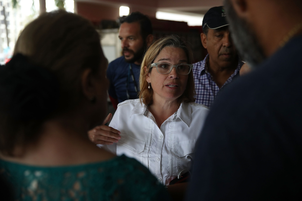San Juan Mayor Carmen Yulin Cruz deals with an emergency situation where patients at a hospital need to be moved because a generator stopped working in the aftermath of Hurricane Maria on September 30, 2017 in Puerto Rico.