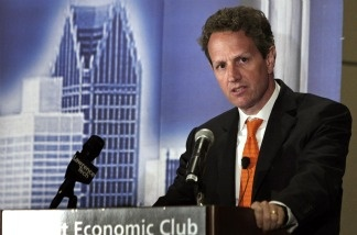 Treasury Secretary Tim Geithner at the Detroit Economic Club April 28, 2011 in Detroit, Michigan.