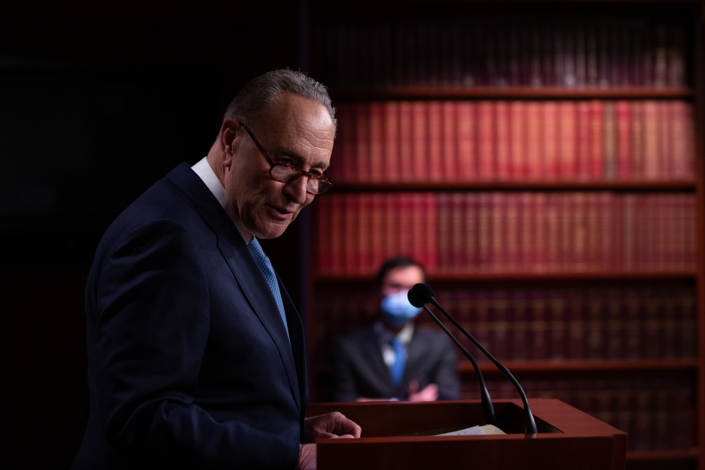 Senate Minority Leader Chuck Schumer (D-NY) holds a press conference at the U.S. Capitol on January 6, 2021 in Washington, DC. Congress will hold a joint session today to ratify President-elect Joe Biden's 306-232 Electoral College win over President Donald Trump.