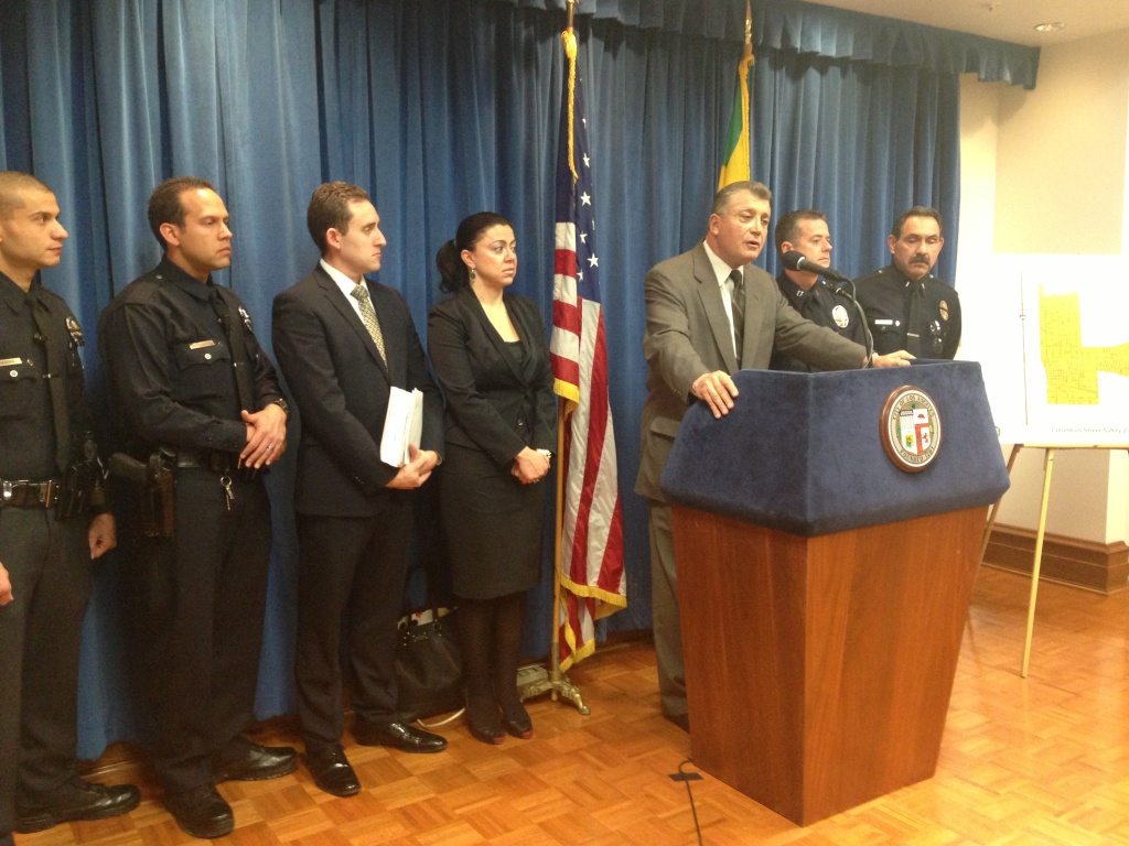 Los Angeles City Attorney Carmen Trutanich announces plans to file for an injunction against the Columbus Street gang in the San Fernando Valley.