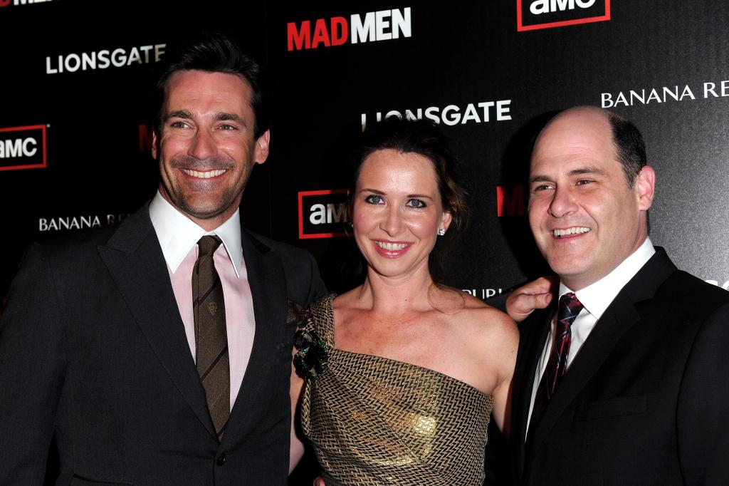 Actor Jon Hamm, costume designer Janie Bryant and producer/creator Matt Weiner arrive to the season 4 premiere of AMC's