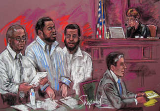 This June 29, 2011 courtroom sketch shows (L-R) James Cromite, Onta Williams and David Williams as they listen to Judge Colleen McMahon during sentencing in Federal Court in New York. The three men caught in an FBI sting operation were each sentenced on June 29, 2011 to 25 years in prison for planting what they thought were bombs outside New York City synagogues in 2009. A fourth man, Laguerre Payen, was also convicted at trial, is undergoing psychiatric evaluation pending sentencing at a later date.