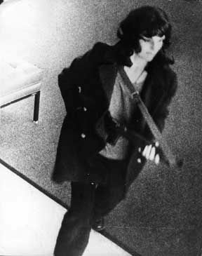 This is not the armed robber in Van Nuys. This is footage of Patti Hearst robbing a San Francisco bank in 1974.
