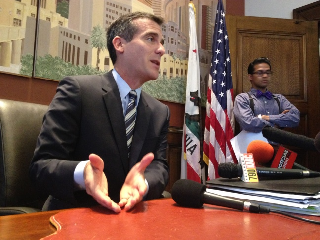Eric Garcetti speaking with reporters about requiring general managers to reapply for their jobs. July 9, 2013.