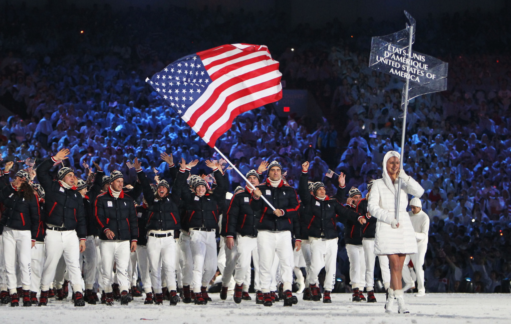 Team United States lead by Mark Grimmette enters the stadium during the Opening Ceremony of the 2010 Vancouver Winter Olympics at BC Place on February 12, 2010 in Vancouver, Canada.