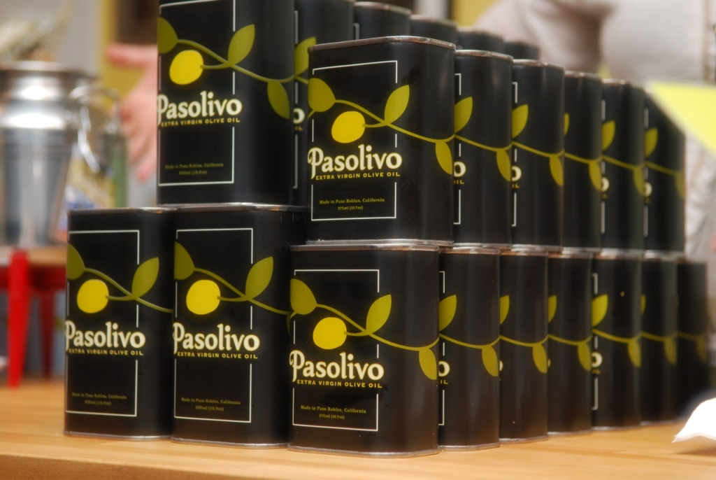 Containers of Pasolivo Olive Oil, manufactured in Paso Robles, California