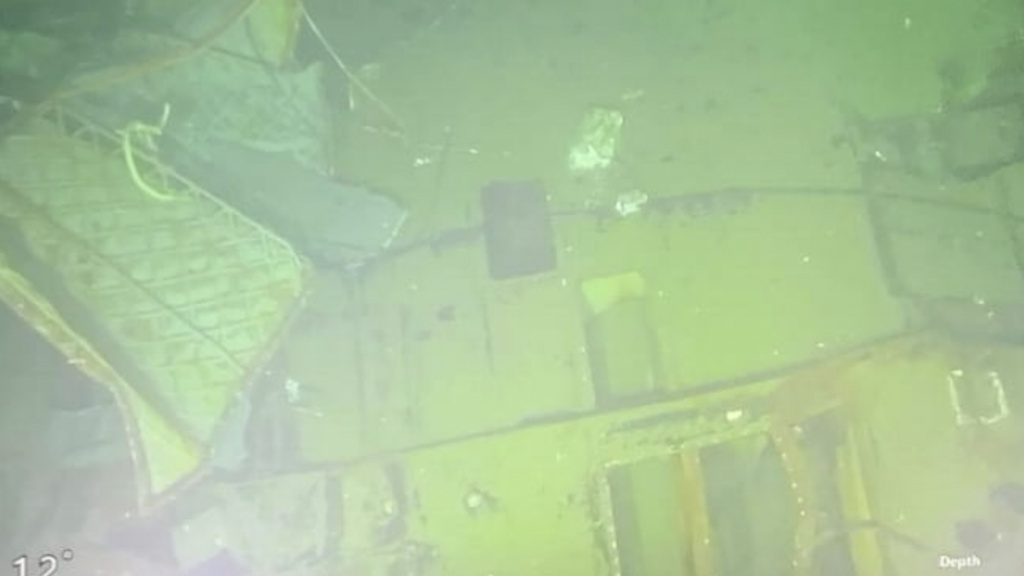 An underwater photo released Sunday by the Indonesian Navy shows parts of submarine KRI Nanggala that sank in Bali Sea, Indonesia. Indonesia's military on Sunday officially admitted there was no hope of finding survivors.