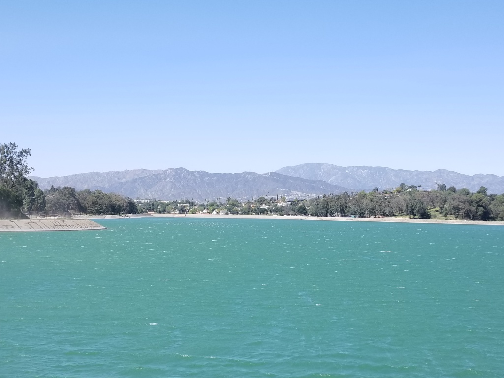 The Silver Lake Reservoir is looking kind of green these days.