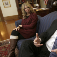 Lt. Gov. Mark Darr and his wife Kim give an interview at the Arkansas Capitol building on Monday. After weeks of pressure to step down from both sides of the aisle, Darr announced his resignation on Friday.