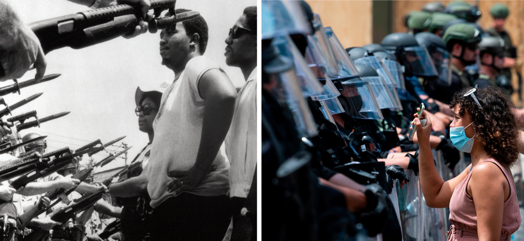 LEFT: Leaders of a march of about 255 people stare at police officers who stopped the group from marching on city hall in Pritchard, Ala, on June 12, 1968. RIGHT: A protester shows a picture of George Floyd from her phone to a wall of security guards near the White House on June 3, 2020, in Washington, DC.