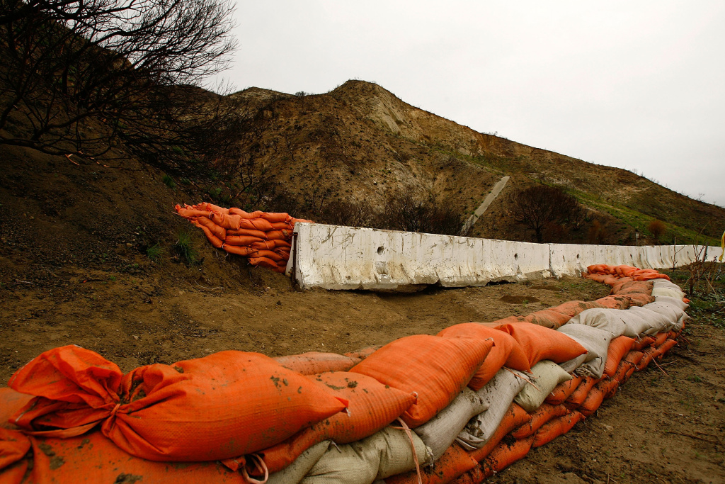Sandbags and barriers placed to protect property from flash floods, mudslides, and debris flows on October, January 4, 2008 in Malibu, California.