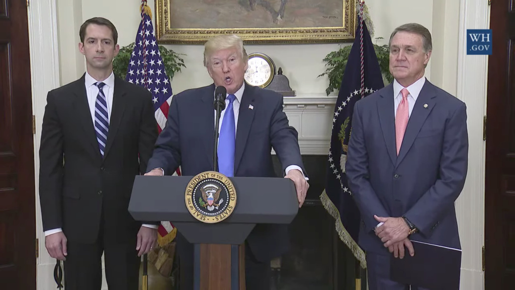 FILE: President Donald Trump joined GOP Sens. David Perdue of Georgia, right, and Tom Cotton of Arkansas on Wednesday, Aug. 2, to announce legislation placing new limits on legal immigration. It is one of many immigration measures the Trump administration wants to tie to any legislation that would benefit young unauthorized immigrants now protected under Deferred Action for Childhood Arrivals, or DACA.