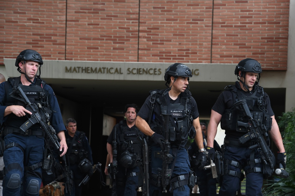 Los Angeles Police Department officers patrol the University of California Los Angeles (UCLA) campus after a shooting, June 1, 2016, in Los Angeles, California. Two people were confirmed dead on Wednesday following a shooting at the University of California's Los Angeles campus, police said.