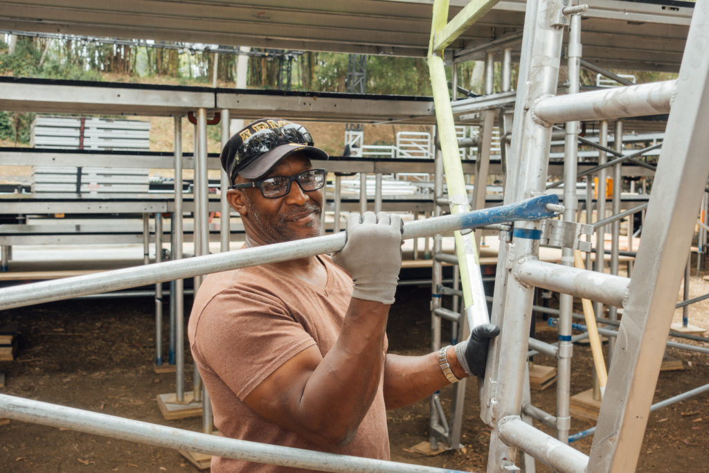 Donnie Williams, part of the Shakespeare Center of L.A. Veterans in Art crew working on the risers for the Japanese Garden stage at the West LA VA.