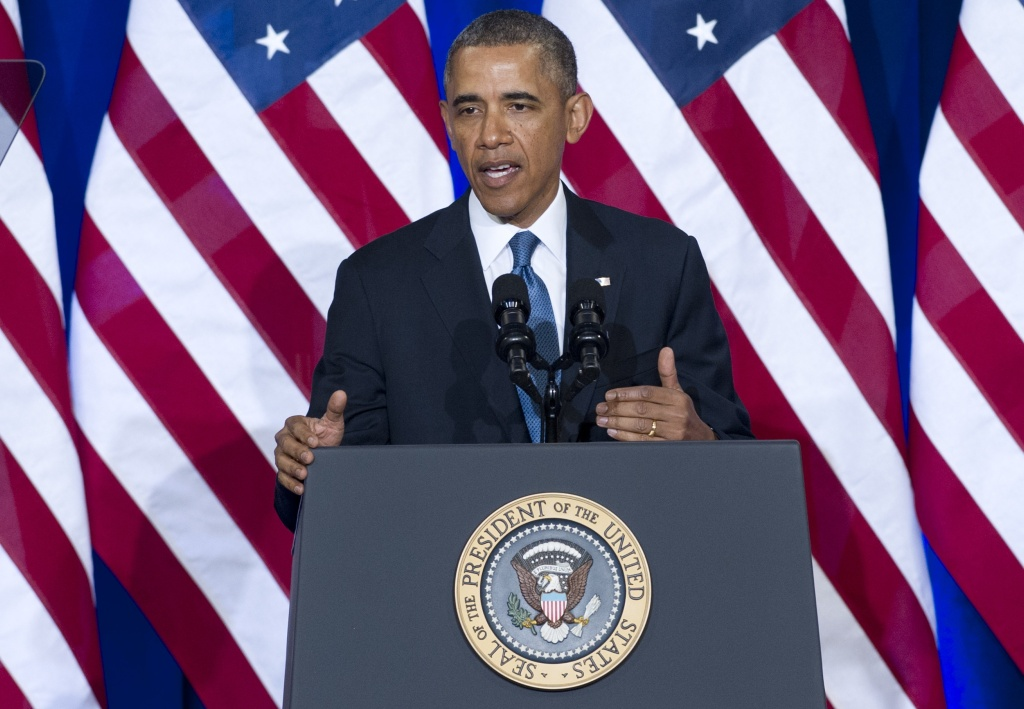 US President Barack Obama speaks about the National Security Agency (NSA) and intelligence agencies surveillance techniques at the US Department of Justice in Washington, DC, January 17, 2014.