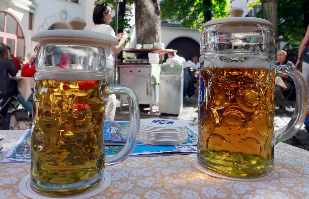 Beer steins stand on a table at Hofbraeuhaus beer garden on September 18, 2012 in Muenchen, Germany. You can celebrate right here in California at the Torrance Oktoberfest. Or try the Santa Monica Septemberfest for some American brews. And for the most local craft beer, check out the events of LA Beer Week, happening 9/20 - 9/30.