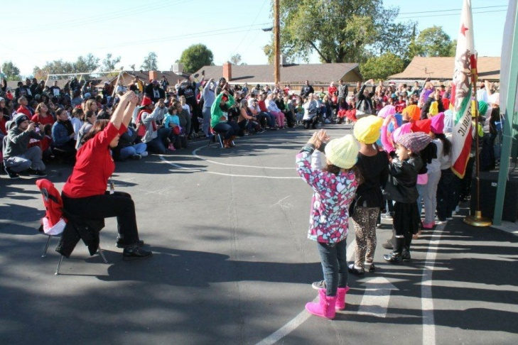 This year's winter program at Barton Elementary School in San Bernardino had the biggest-ever parent turnout. Parents have come to look forward to the performances.