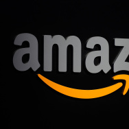 The Amazon logo is seen on a podium during a press conference in New York, September 28, 2011.