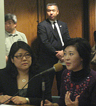 File: Grace Yoo (L), of L.A.'s Korean American Coalition and Nikki Cho (R) of the Korean American Neighborhood Council of Los Angeles testify in support of expanding Koreatown's boundaries at an L.A. City Council meeting in 2010.
