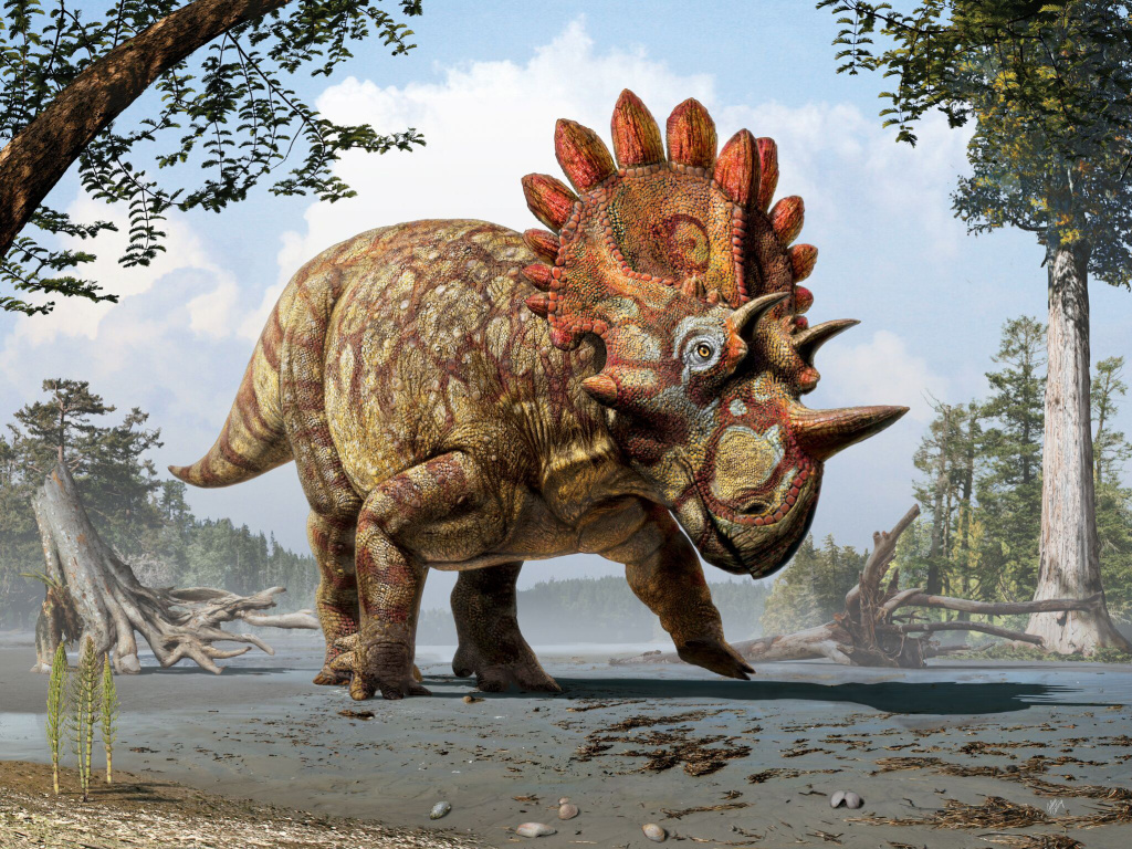 Artistic life reconstruction of the new horned dinosaur Regaliceratops peterhewsi in the palaeoenvironment of the Late Cretaceous of Alberta, Canada.