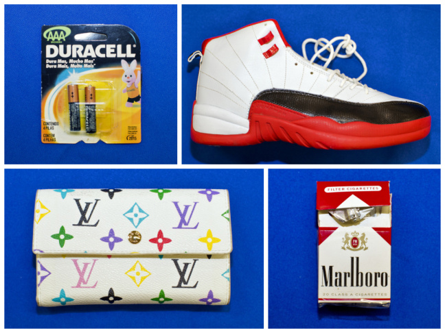 All of these are counterfeit items confiscated by US Customs and Border Protection at one of their Long Beach facilities. Clockwise from top left: Duracell batteries (notice the character that looks like the Energizer bunny), high-end Nike sneakers, Marlboro cigarettes, and a Louis Vuitton handbag.