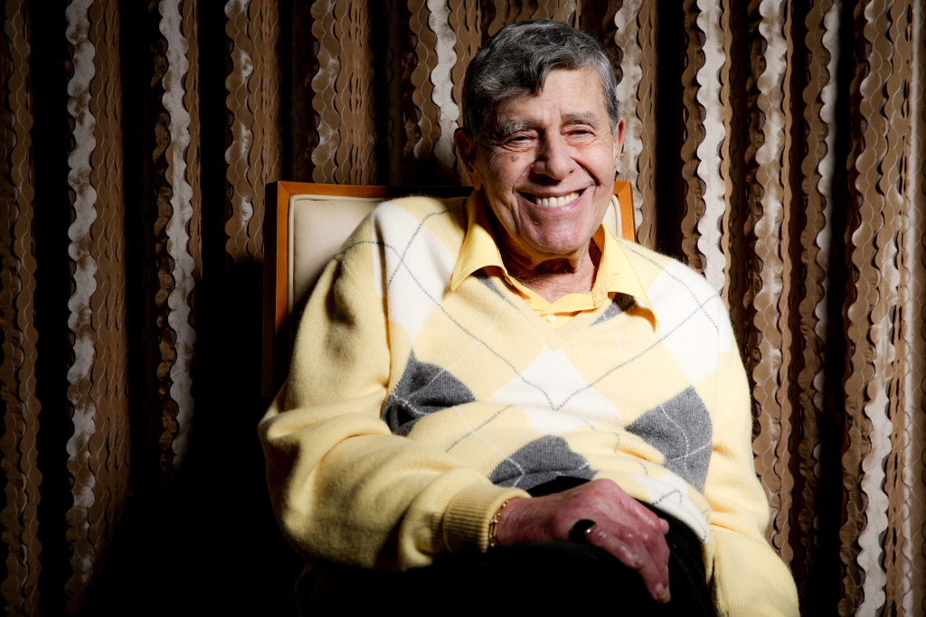 In this Aug. 24, 2016 photo, comedian Jerry Lewis reacts during an interview at the Four Seasons Hotel in Los Angeles.