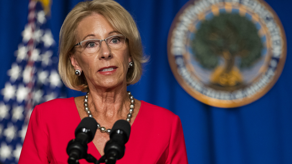 U.S. Education Secretary Betsy DeVos speaks this week during a White House Coronavirus Task Force briefing.