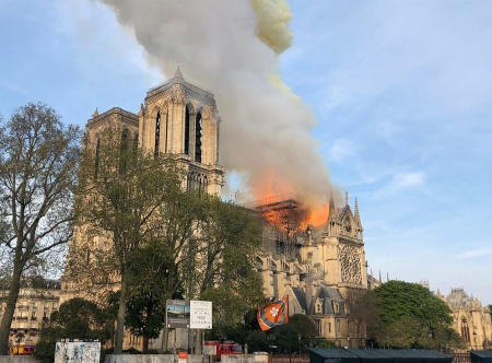 Notre Dame cathedral is burning in Paris, Monday, April 15, 2019