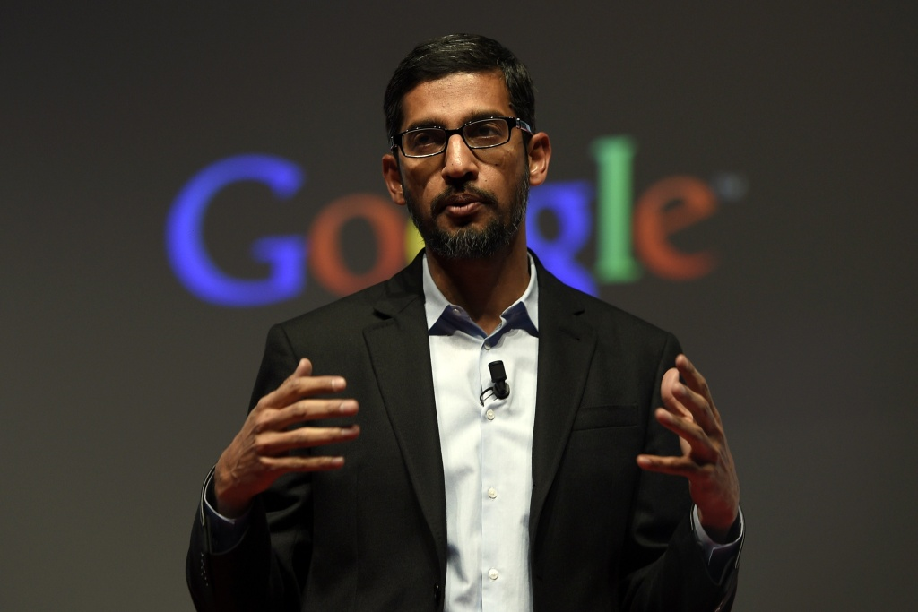 Google's Senior Vice President Sundar Pichai gives a keynote address during the opening day of the 2015 Mobile World Congress (MWC) in Barcelona on March 2, 2015. Pichai said Google plans to offer cellular services soon but insisted that the Internet company isn't a threat to traditional telephone and Internet service providers.