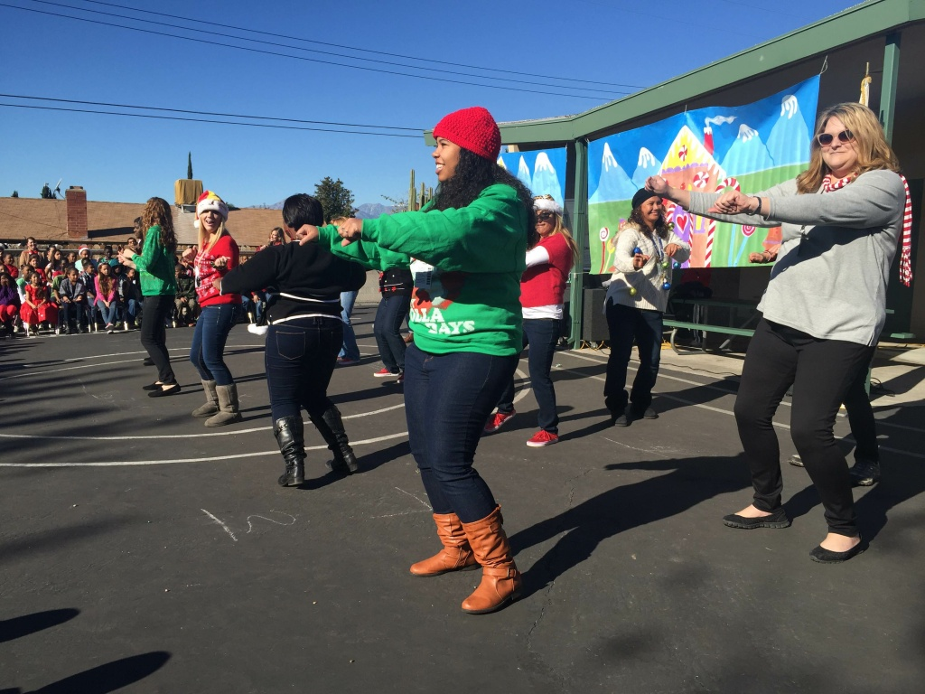 Teachers at Barton Elementary School in San Bernardino danced to a medley that included Christmas carols and pop songs.