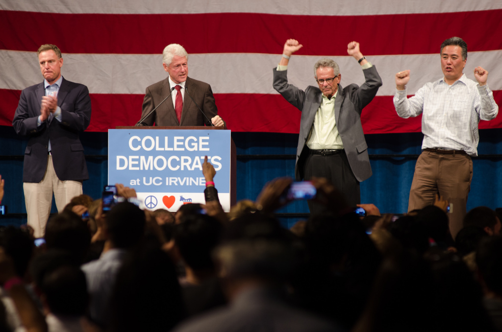President Clinton was last in Orange County in October, stumping for congressional candidates.