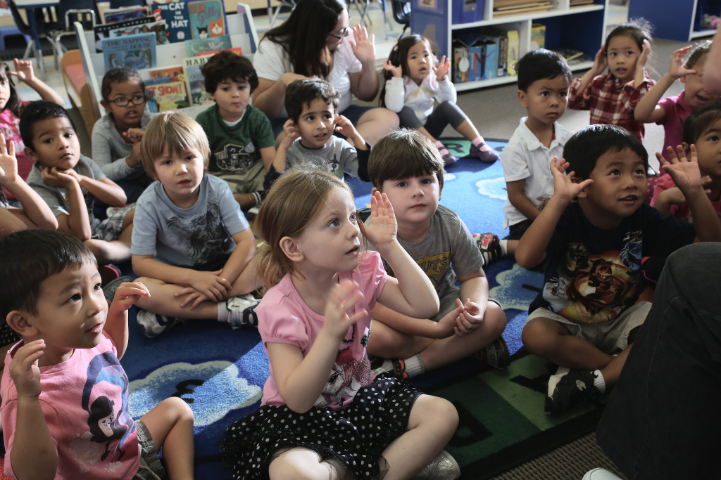 Children at Scripps Ranch KinderCare in San Diego play in their classroom on October 1, 2013 in San Diego, CA.