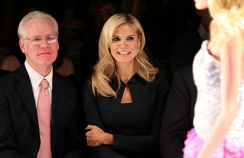TV Personalities Tim Gunn and Heidi Klum attend the Project Runway Finalists Fashion Show Spring 2009 during Mercedes-Benz Fashion Week at The Promenade, Bryant Park on September 12, 2008 in New York City.