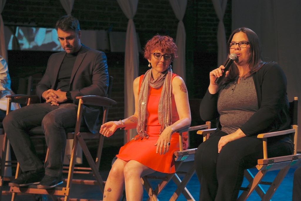 Sydney Hoffner (right) talks about Bootleg, a TV Western, with Sylvia Bowersox (center) and Brian Hanson (left) at the US  Veterans' Artists Alliance's New Works Presentation.