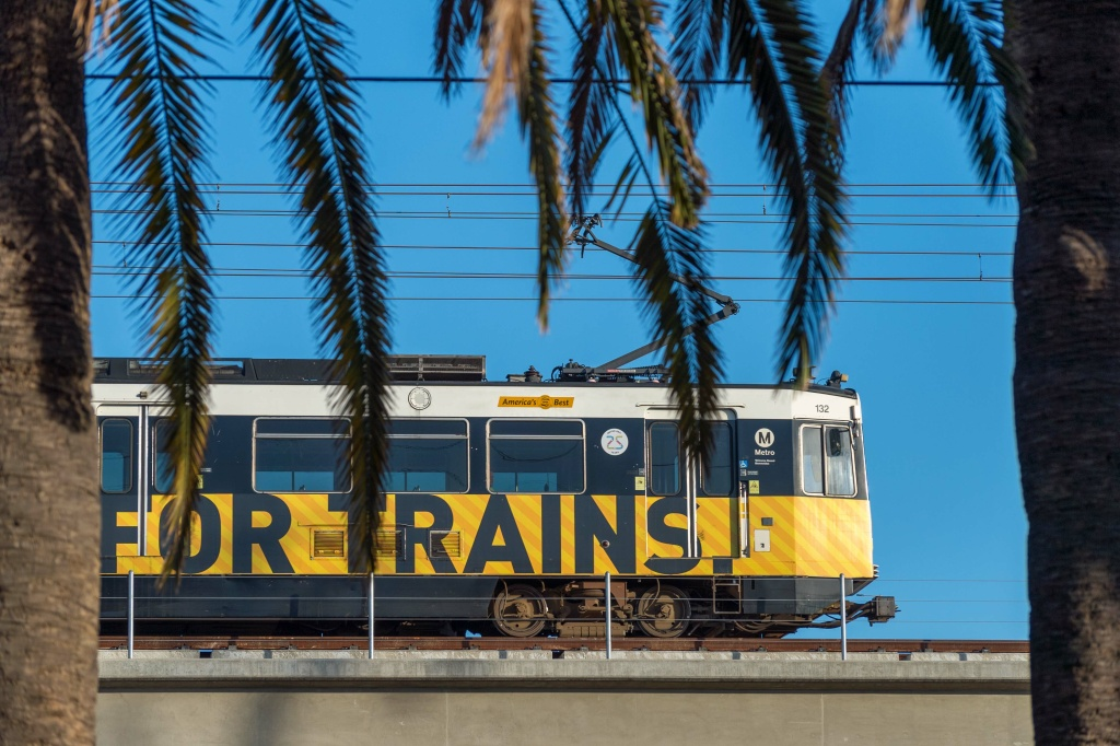 A test train runs above Pico Boulevard in Santa Monica along the new Expo Line extension on April 27, 2016.