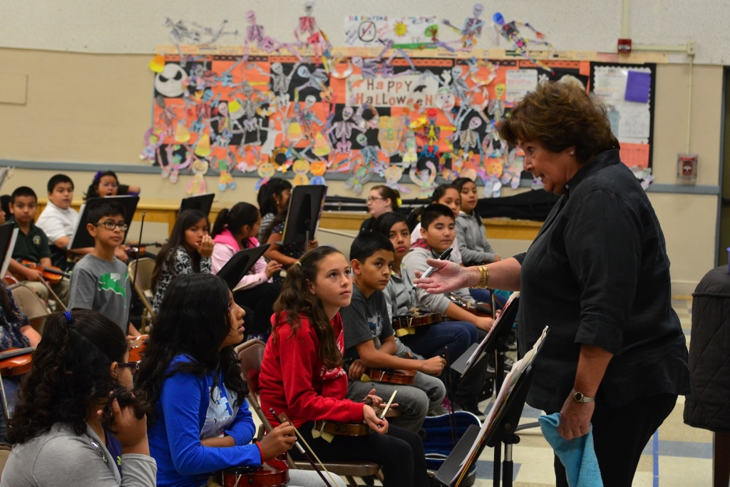 Music teacher Linda Mouradian teaches at San Fernando Elementary School.