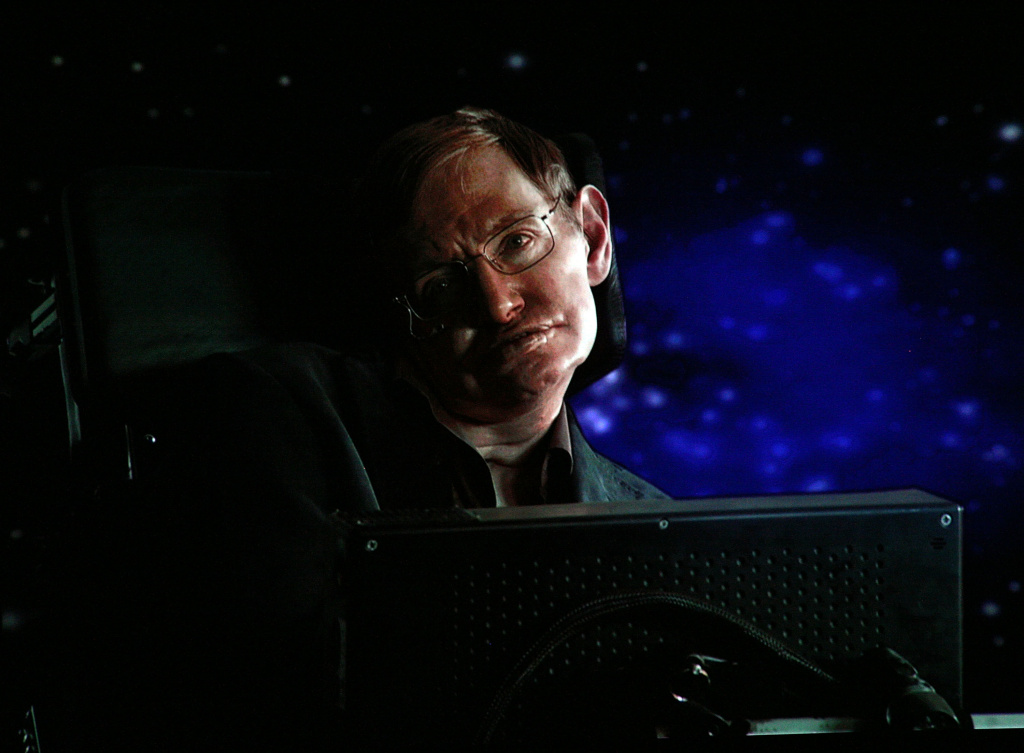 Scientist Stephen Hawking speaks via satellite during the Science Channel portion of the 2010 Television Critics Association Press Tour at the Langham Hotel on January 14, 2010 in Pasadena, California.