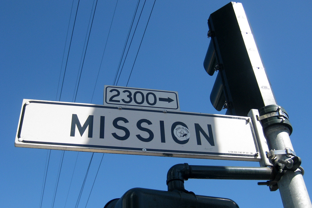 A sign for Mission Street in San Francisco's Mission District.